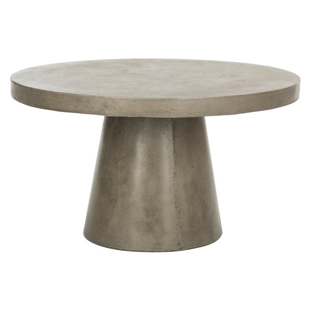 Delfia Modern Concrete Round Dia Coffee Table Dark Gray Safavieh Concrete Coffee Table Outdoor Coffee Tables Round Coffee Table
