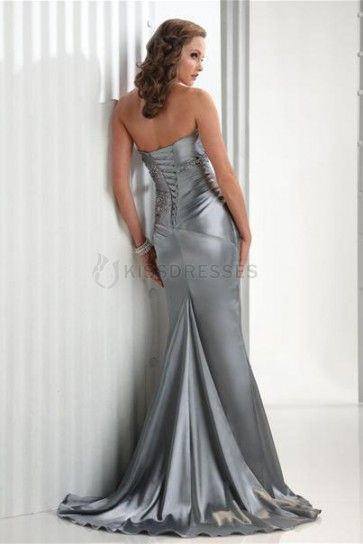 (Ships In 48Hrs)Classy Flirt Sweep With Stretched Satin Prom Dress