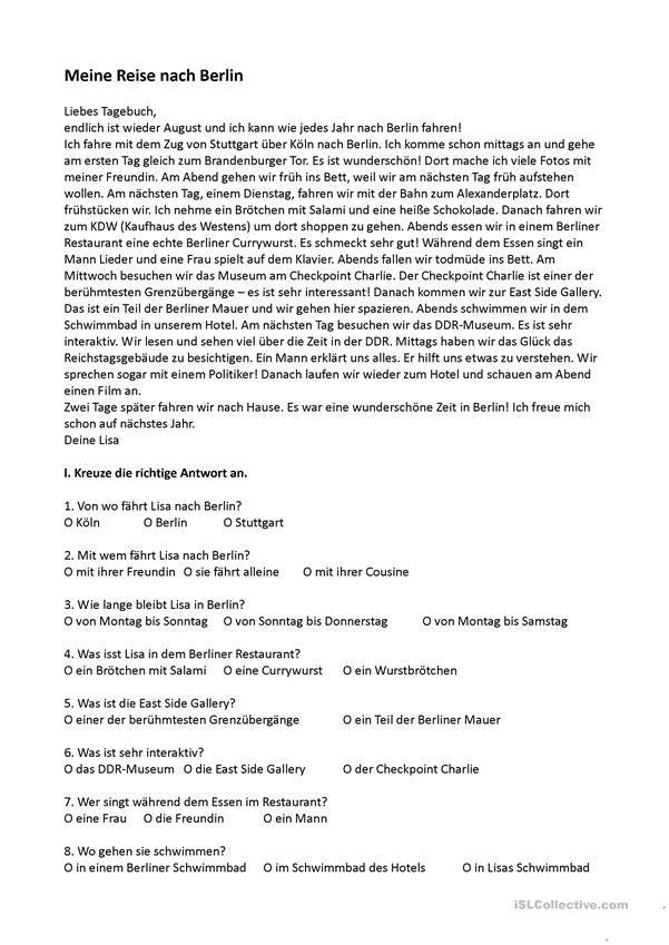 Meine Reise nach Berlin | Deutsch für Kinder (Arbeitsblätter ...