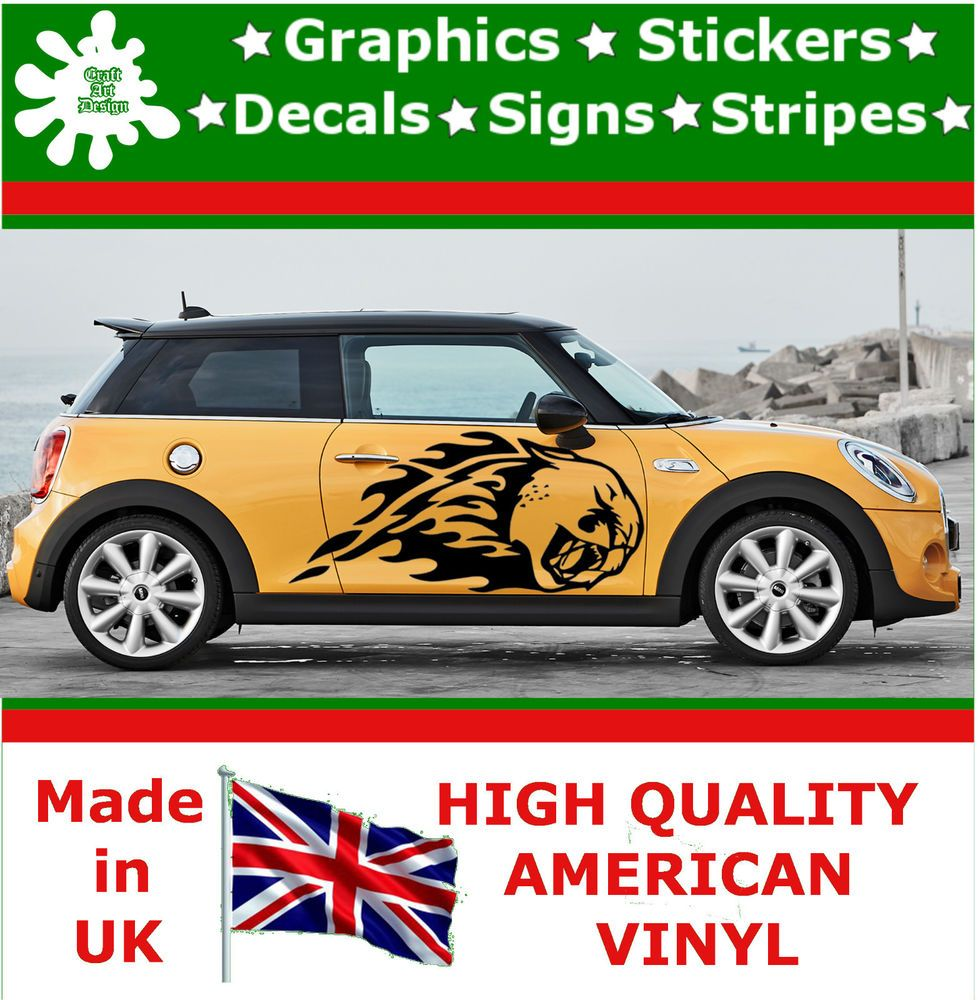 2 x large car side mustang cheetah flame graphics 4x4 decal vinyl sticker van 83