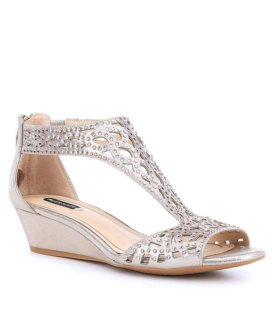 Alex Marie Mairitwo Metallic Leather Ankle Strap Wedge Sandals | Dillard's