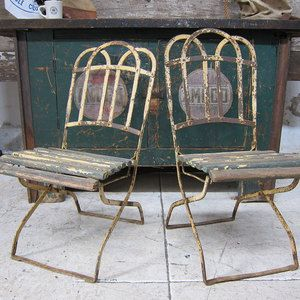 I Liked This Design On Fab 1940s Slatted Garden Chairs Pair Fer Forge Chaise Maison