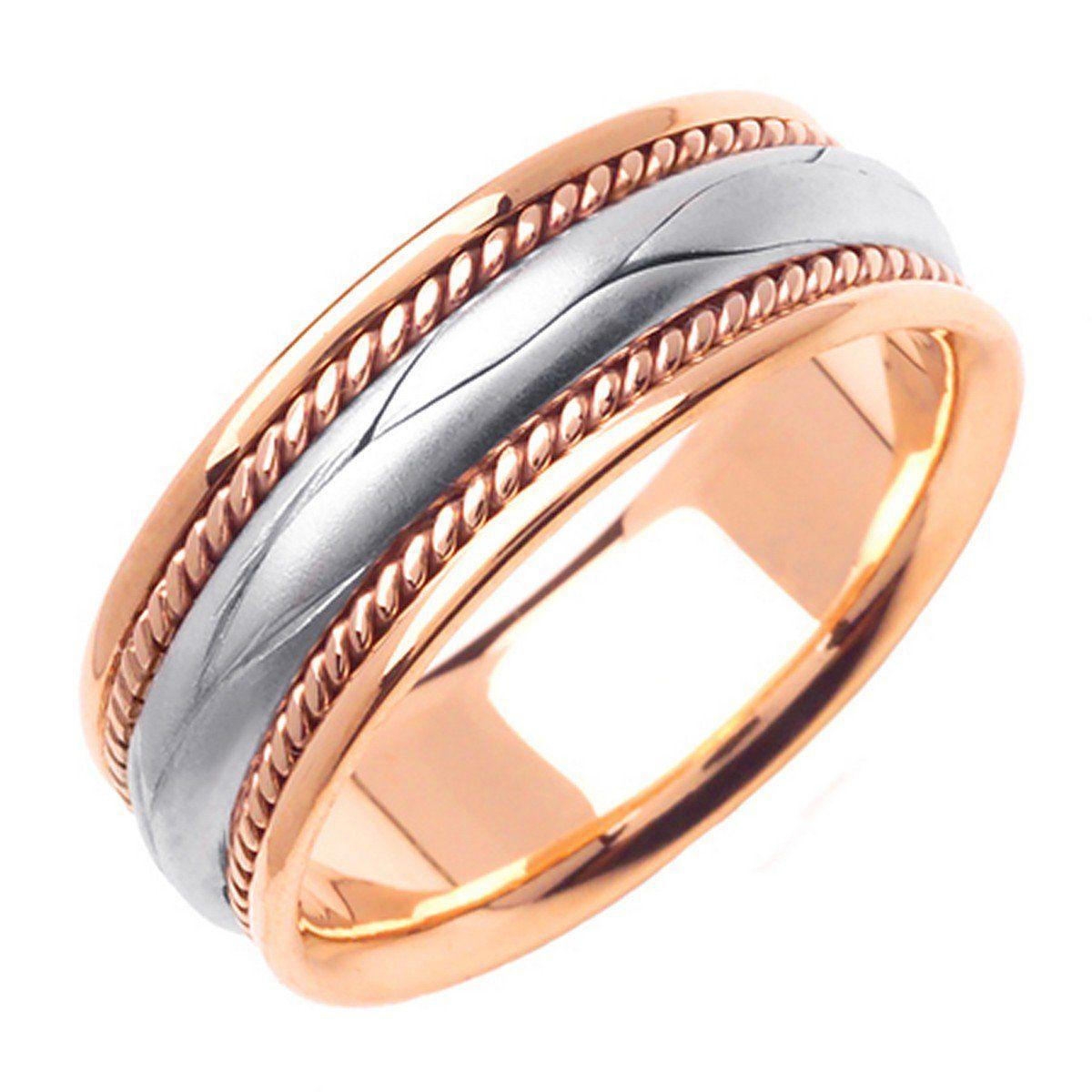 14K Rose Gold Braided Rope Edge Men's Wedding Band (8mm