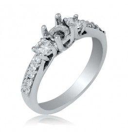 0.65 CTTW VS/HI Diamond Semi-Mount Ring in 18K White Gold