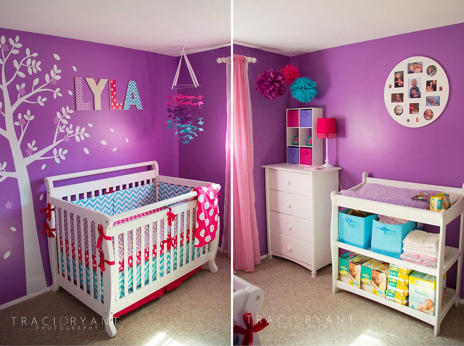 Purple and pink bedrooms - From Traci Ryant Photography Purple Pink And Turquoise Nursery Paint Shade Is Glidden Brand Orchid Bush Love It
