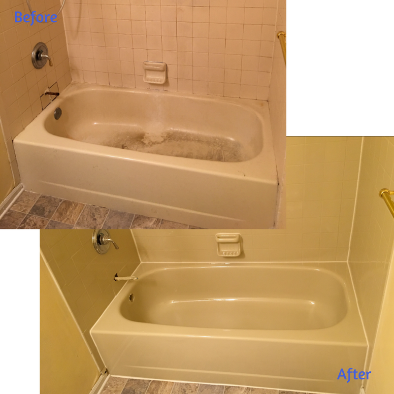 This Stained Tub And Tile Surround Was Resurfaced In One Of Our Off White  Finishes