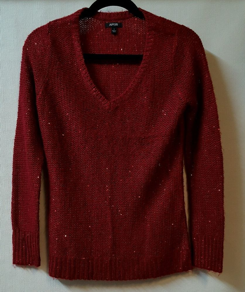 Apt 9 V Neck Dark Red Tunic Sweater Size Small S Sequins Sparkle ...