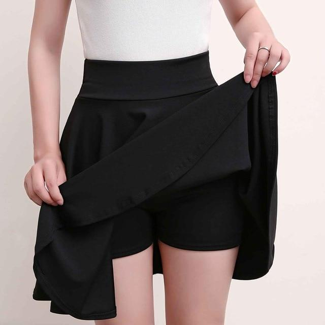 Surmiitro Plus Size 4XL Shorts Skirts Womens 2019 Summer A line Sun School High Waist Pleated Skirt Female Korean Elegant Skirt