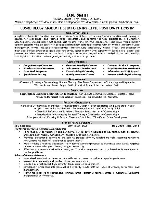 Beautician Cosmetologist Resume Example Resume examples - entry level jobs resume