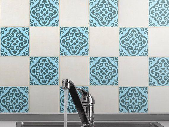Tile Decals Set Of 15 Stickers For Kitchen Tiles Geometric Decal Sea Foam Backsplash Vintage Style Vinyl