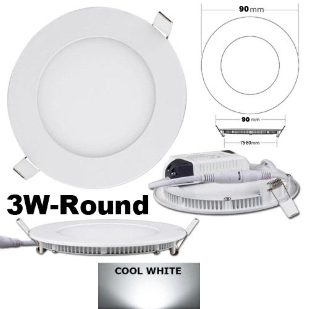 3w Led Round Panel Light Recessed Downlight 4000k Led Panel