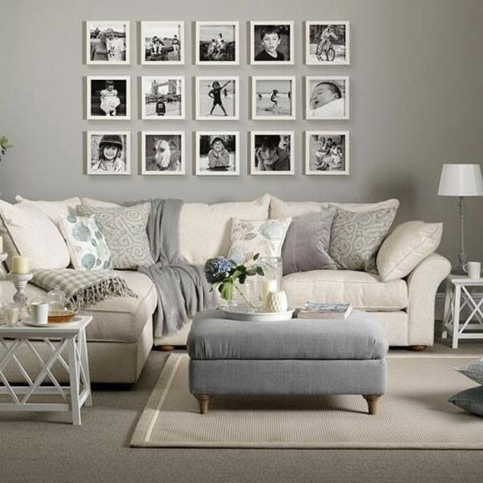tapis beige mur gris photos murales canape beige coussins decoratifs minimalistbedroom