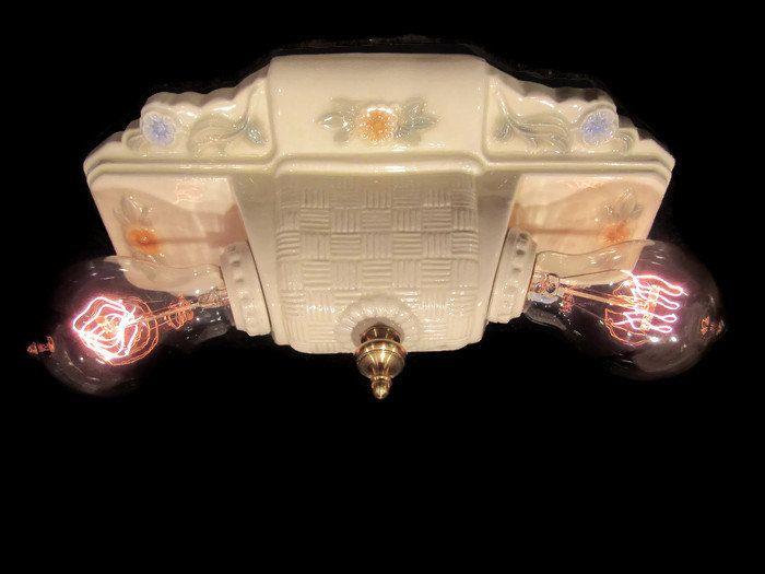 Vintage Porcelain Flush Mount Ceiling Light Fixture Rewired New