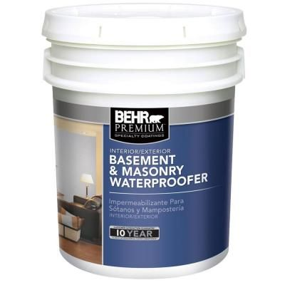Behr Premium 5 Gal Basement And Masonry Waterproofing Paint 87505 The Home Depot Waterproofing Basement Basement Waterproofing Diy Finishing Basement