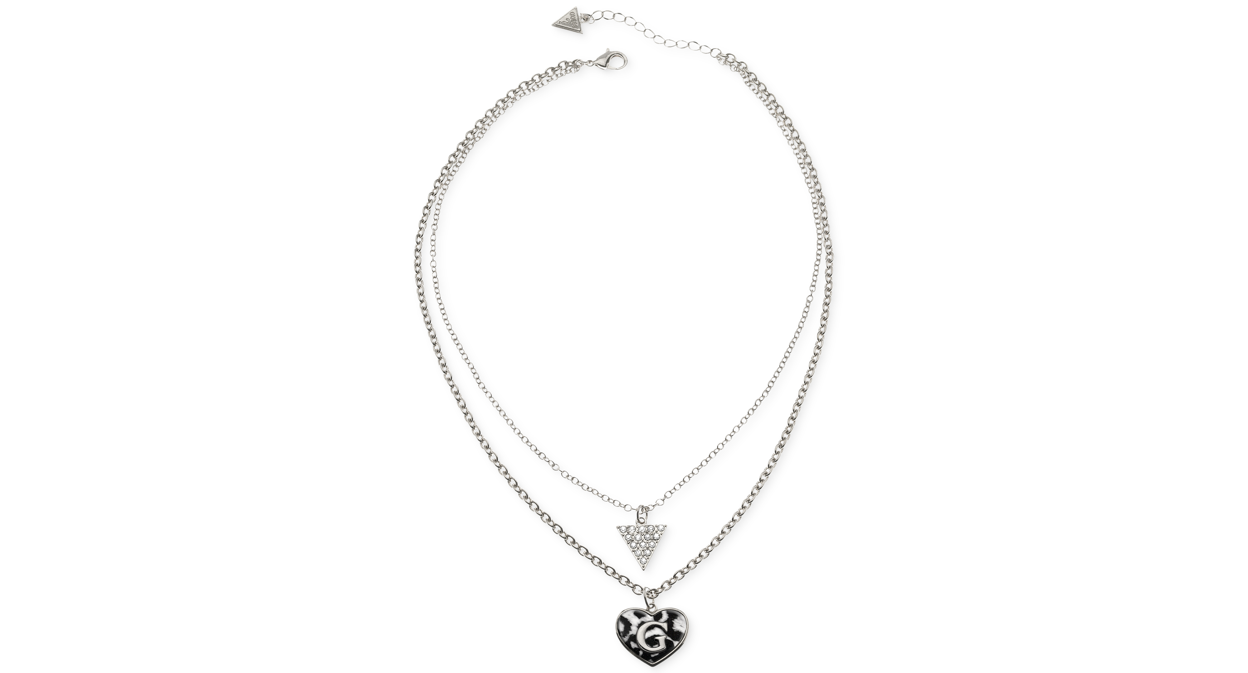 Guess Rhodium-Tone Two Row Triangle Heart Dalmatian Print Necklace