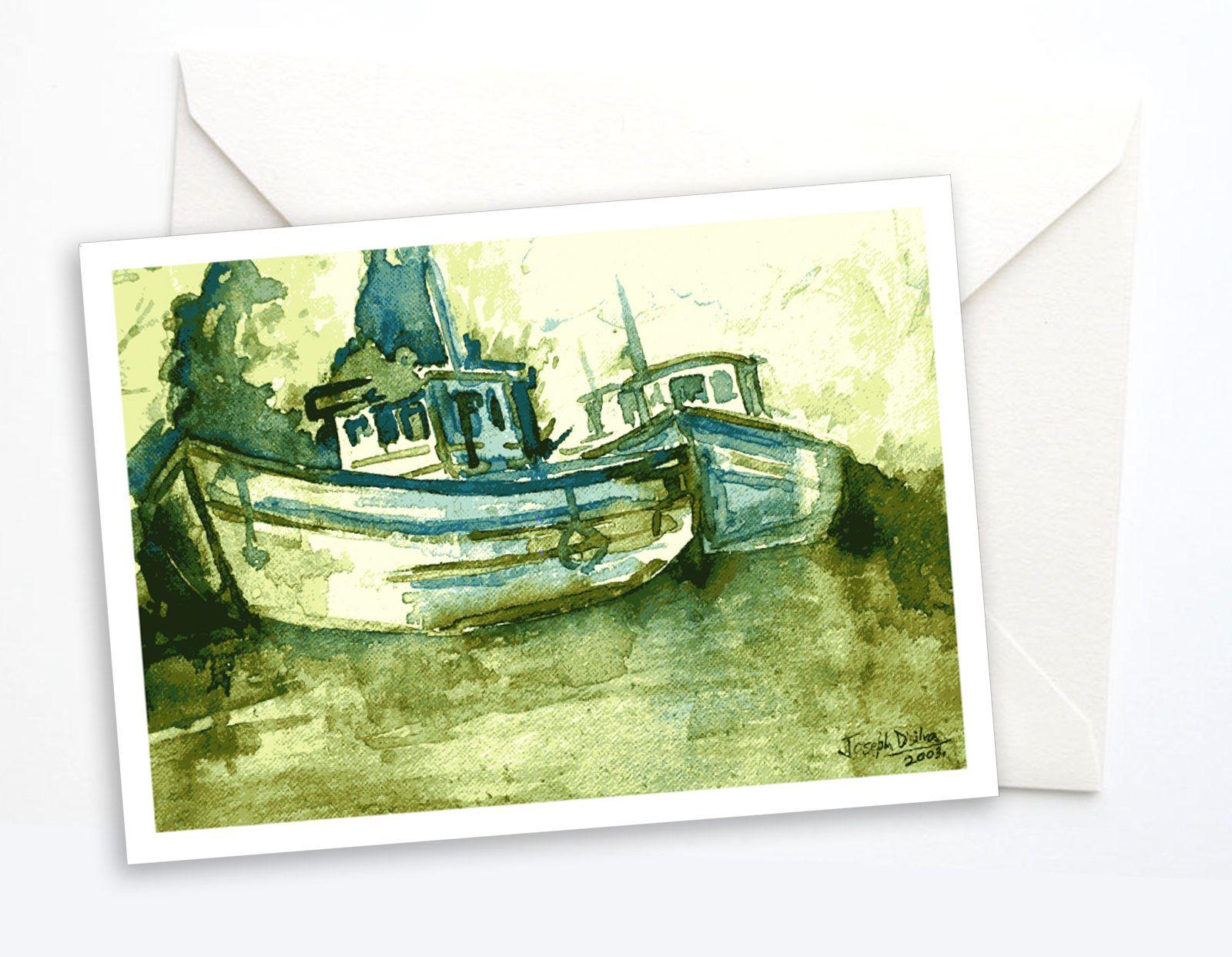 Goan Fishing Boats | Note Card | Greeting Card #CardForFriend #TravelNoteCard #RiverBank #FishingBoats #GreenNature #CountrysideArt #IndianVillage #CardForHim #GoaIndia #VacationGreeting