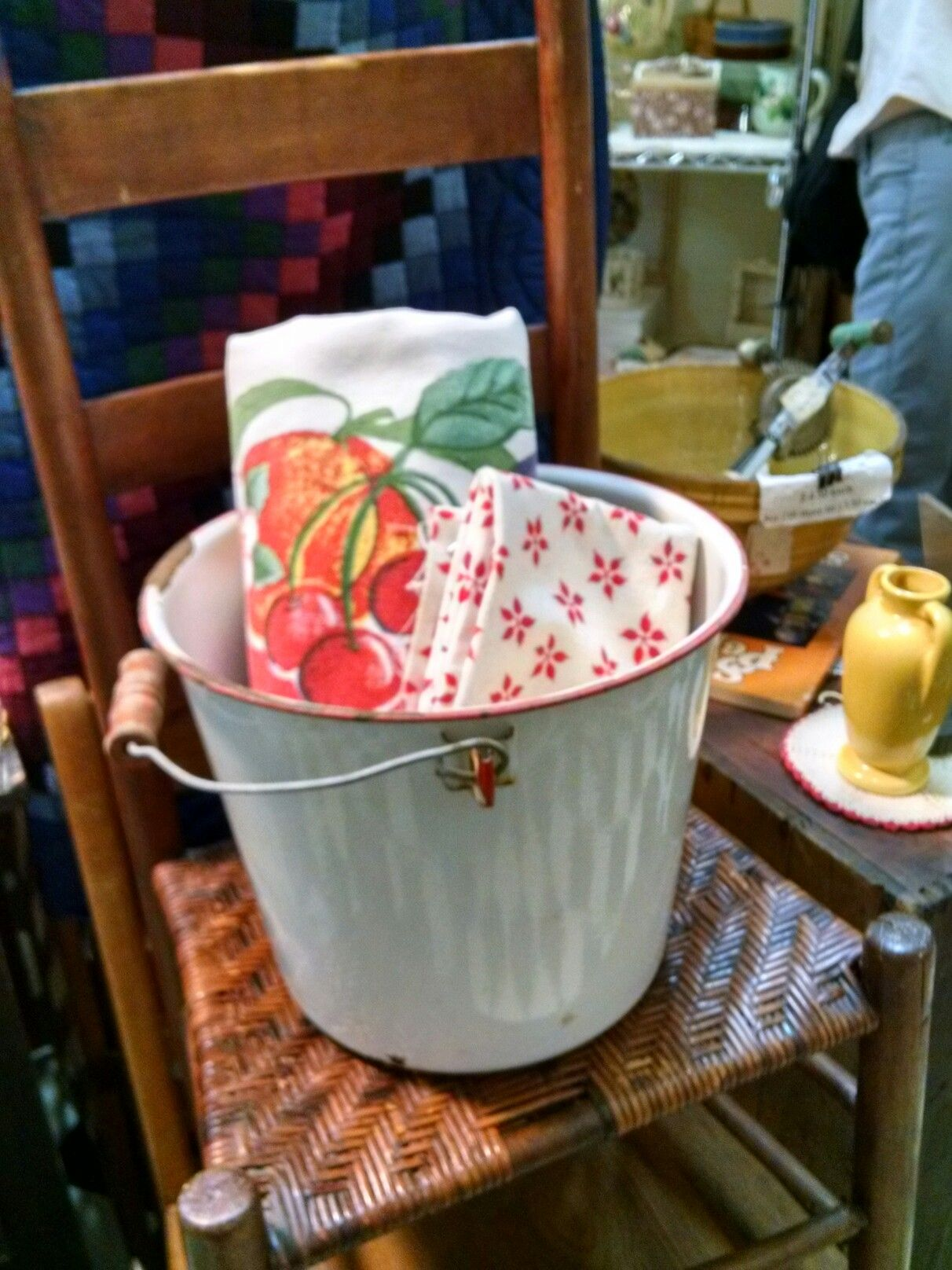 Vintage Tablecloth And Flour Sack Material In Enamel Bucket. LMU, Little  Mountain Sc