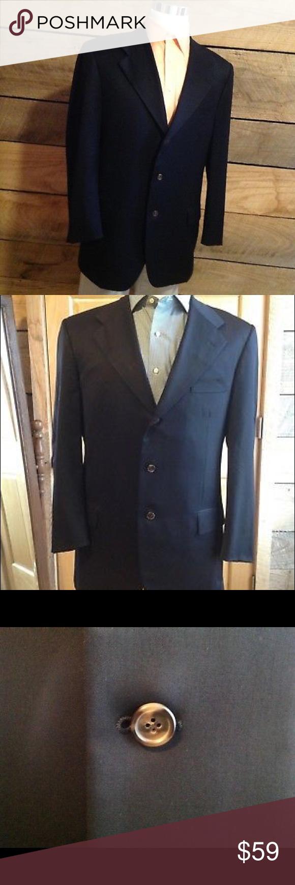 47973c8ef Navy Blue Lightweight Wool Sport Coat Blazer Boss Hugo Boss Baldessarini 3  Button Men Sport Coat