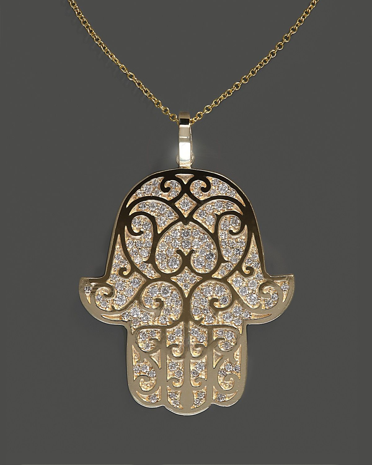 Diamond hamsa pendant necklace in 14k yellow gold 90 ct tw 18 diamond hamsa pendant necklace in 14k yellow gold 90 ct tw 18 mozeypictures Images