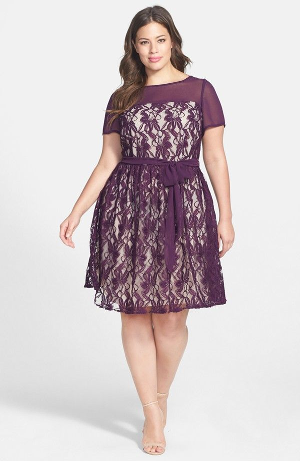 Illusion Lace Fit & Flare Dress (Plus Size)   My Style   Pinterest ...