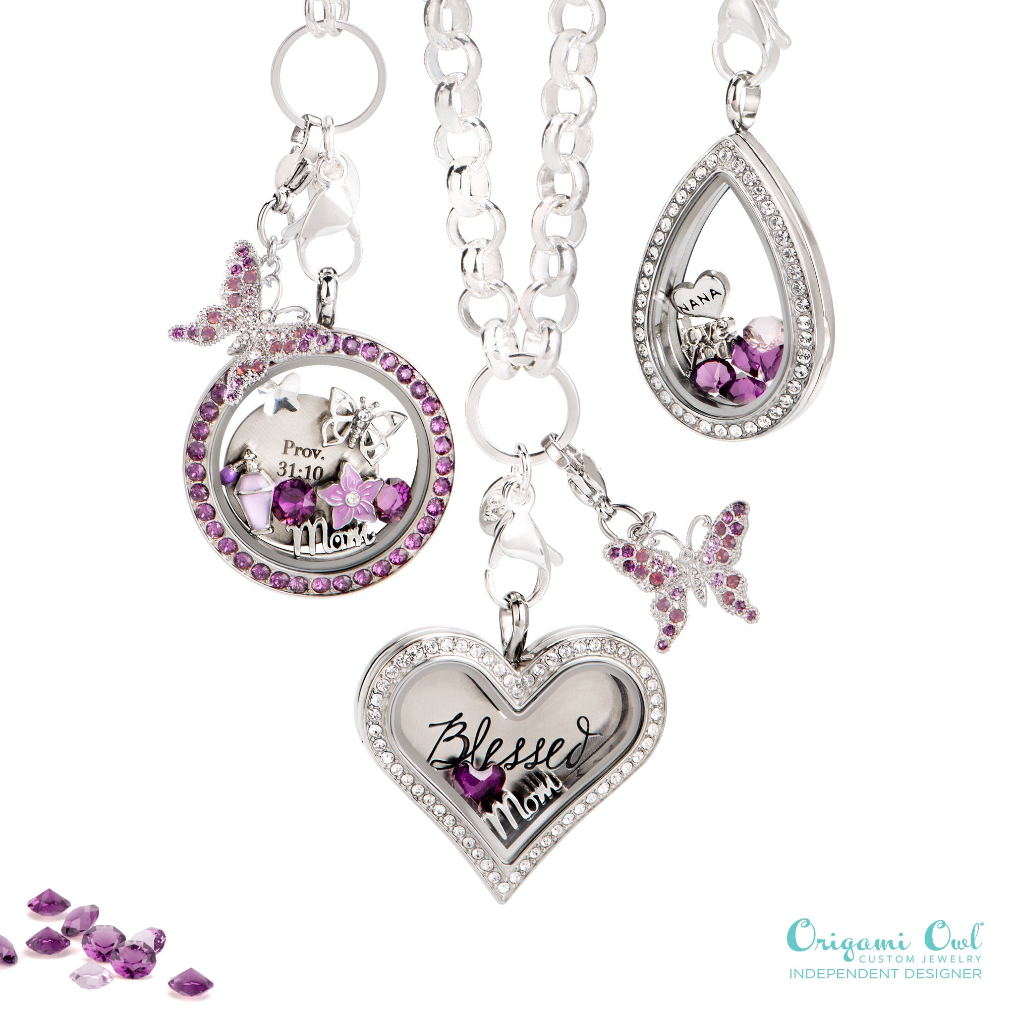 Purple is the color of creativity, wisdom, devotion, and strength. Make Mom feel like royalty this Mother's Day with an Origami Owl Living Locket featuring Crysrals by Swarovski!  Order @ http://www.triciagallagher.origamiowl.com/