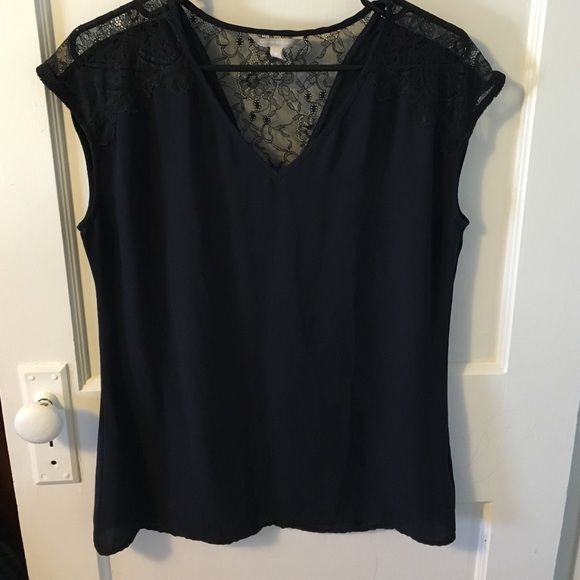 Banana Republic navy blouse Lovely lace detail on shoulders and black. NEVER WORN! Banana Republic Tops Blouses