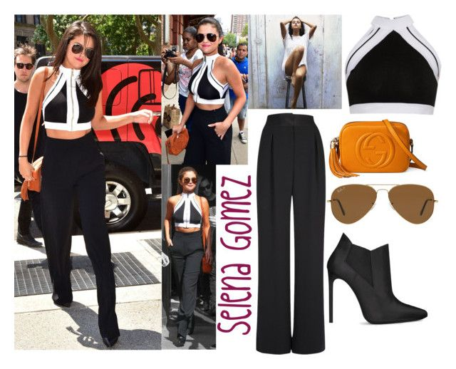 """""""Selena Gomez In New York City June.22.2015"""" by valenlss ❤ liked on Polyvore featuring Balmain, L'Agence, Gucci, Yves Saint Laurent and Ray-Ban"""