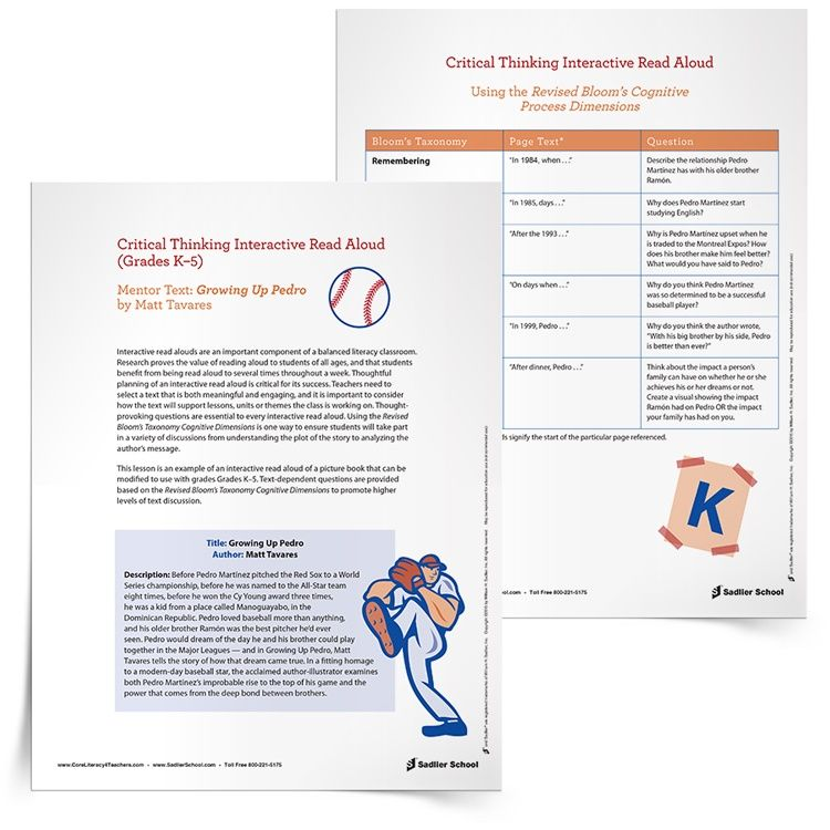 Critical Thinking Interactive Read Aloud Lesson Template of Growing ...