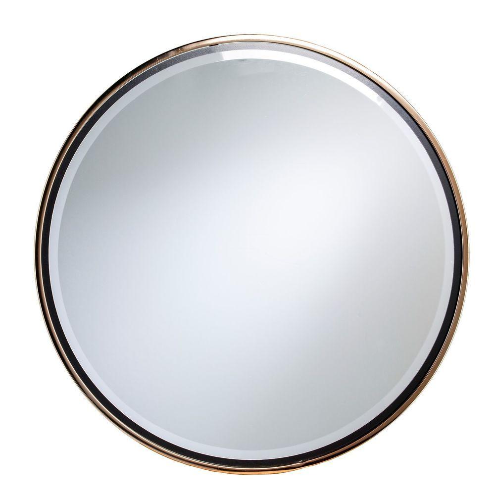Cwm76945 Champagne Gold Black Trim Wall Mount Round Decorative Mirror Mirror Wall Round Wall Mirror Mirror