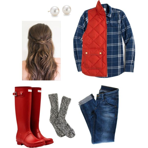 So ready for the cold weather by dancetx on Polyvore featuring J.Crew, Hudson Jeans, Hunter and Blue Nile
