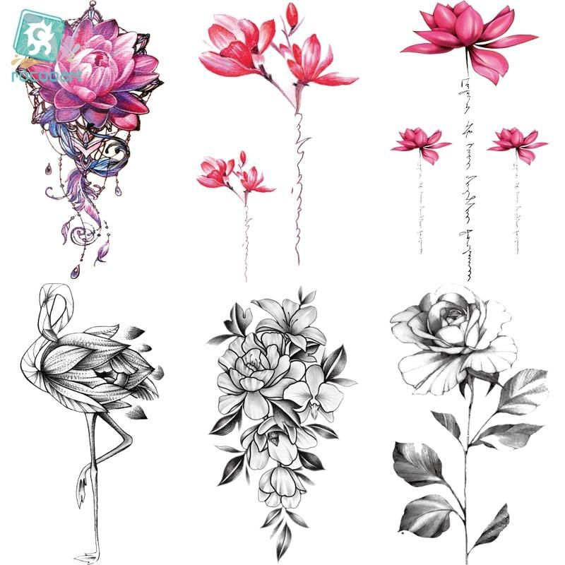 5489bed5c Rocooart QC595-907 20X10cm Colorful tatuajes temporales tattoo sleeves Body  Art flowers Flamingo Temporary Tatoos Sticker Taty