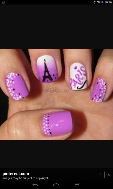 Purple Paris - Polish Art Addiction we should have our nails done like this  for the french trip next year! - Purple Paris Nails Pinterest Eiffel Tower Nails, Paris Nails