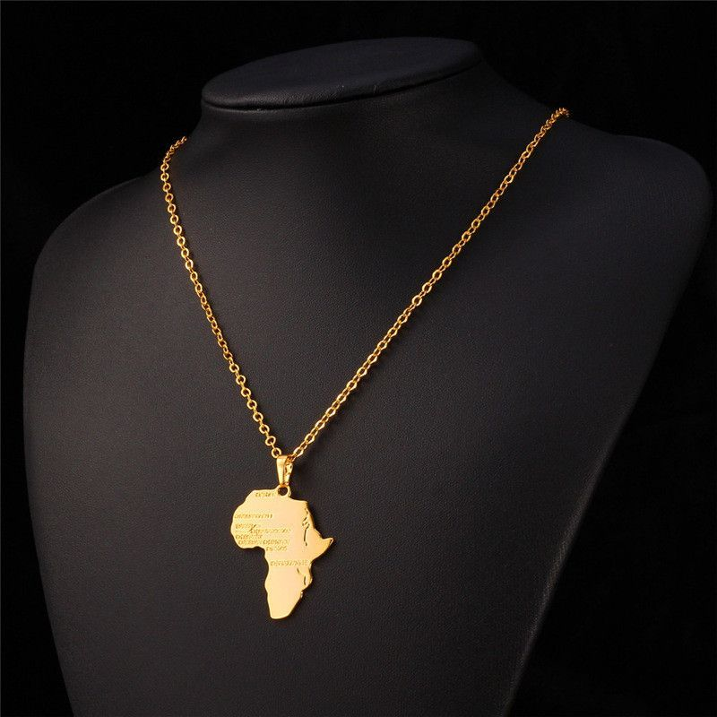 8dfd673e710ee Hiphop Africa Map Necklaces Pendants Platinum/18K Real Gold Plated ...