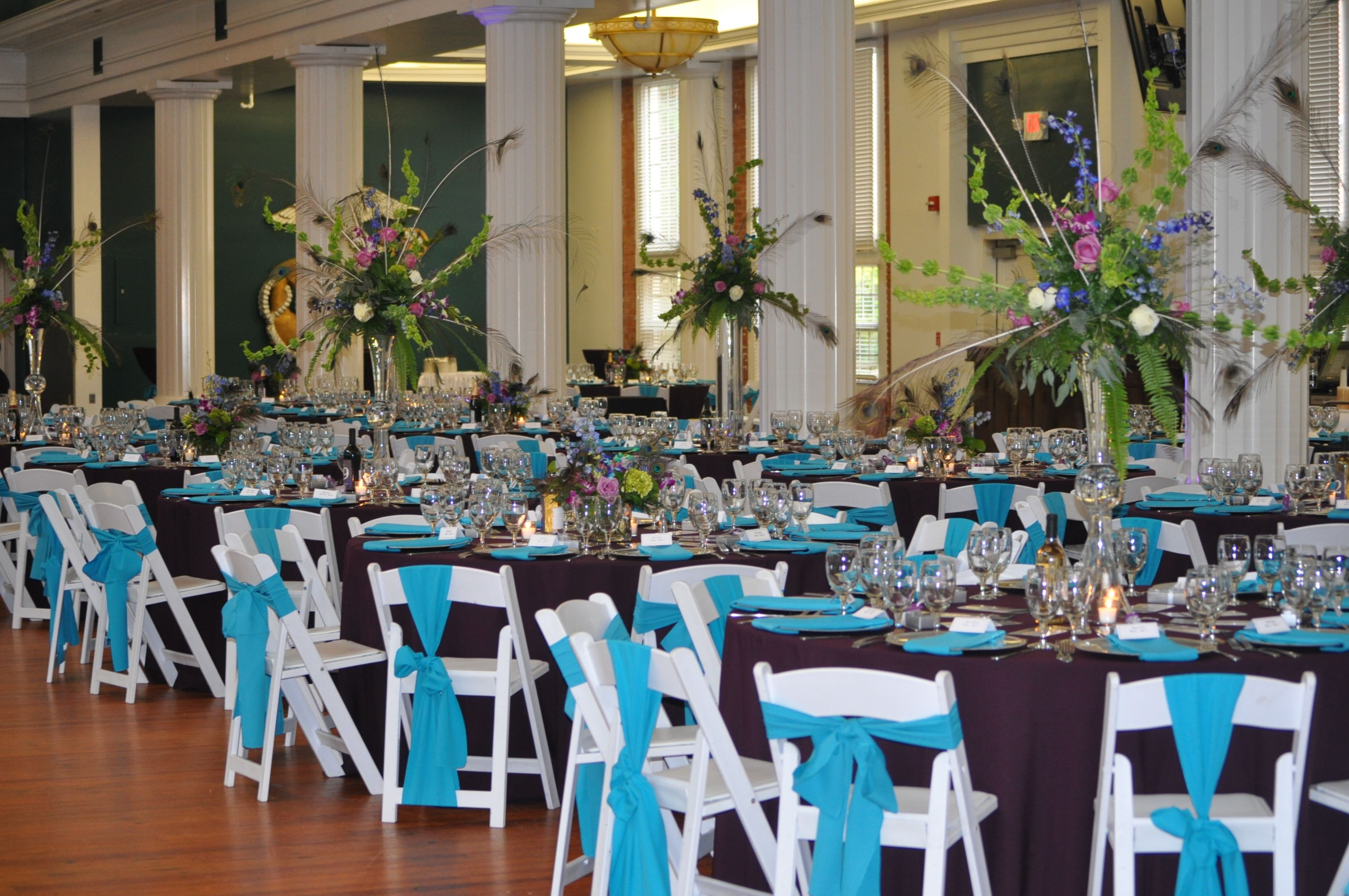 Beaufort Weddings - Teal, purple and white themed wedding at the Lyceum aboard MCRD Parris Island in Beaufort, SC - Catering by Traditions.