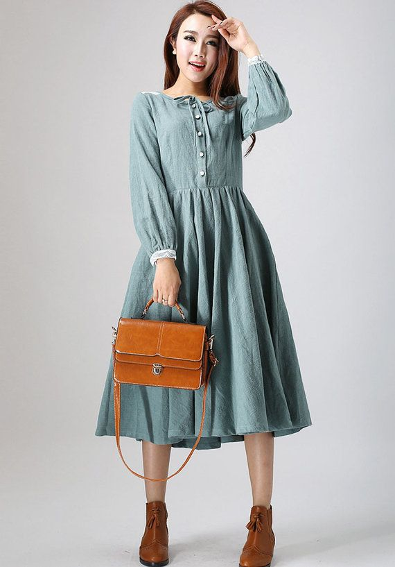 Charming dress, linen dress, midi dress with lace detail on shoulder ...
