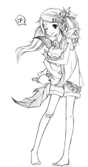 Fille manga avec un phyllali pok mon pok mon dessin manga coloriage manga et manga - Dessin manga image ...