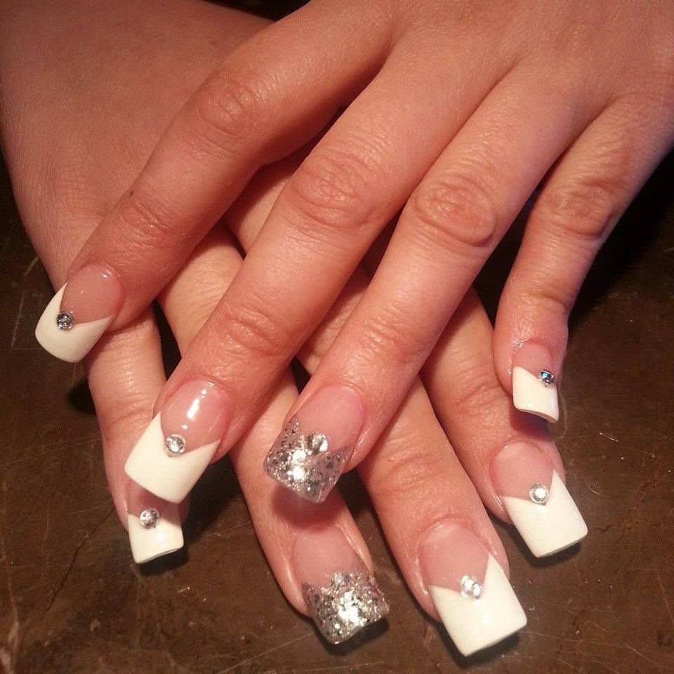 French Manicure with a silver accent nail and rhinestone! My next ...
