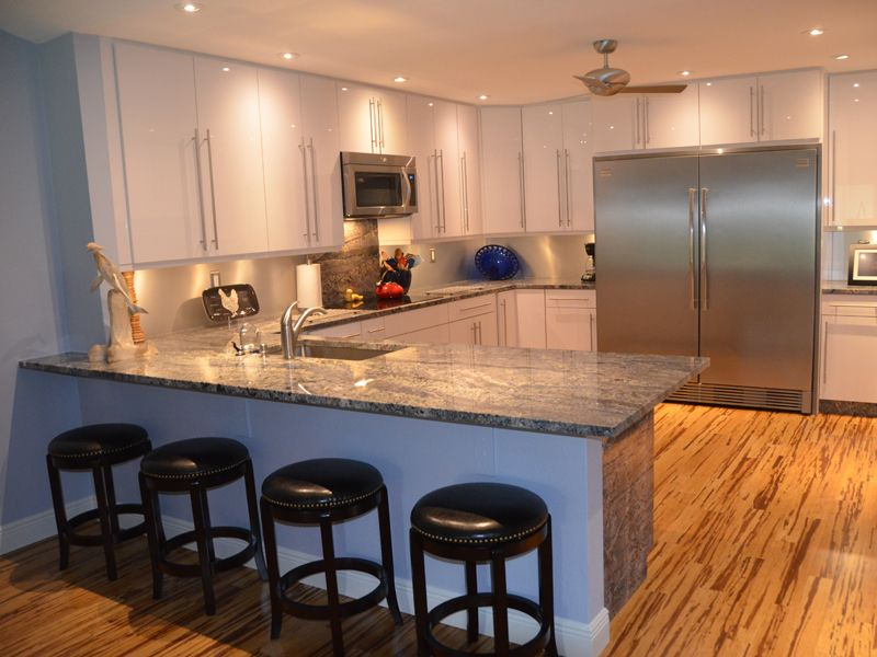 light blue granite countertop. a natural fit for a bright cheery