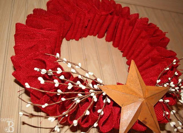 Red burlap ruffle wreath