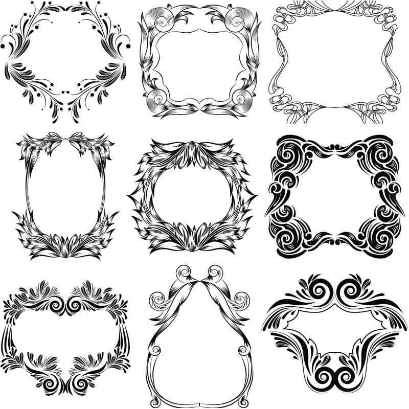 set of 9 vector decorative floral frames with ornate swirls and flourish on the border for - Decorative Picture Frames