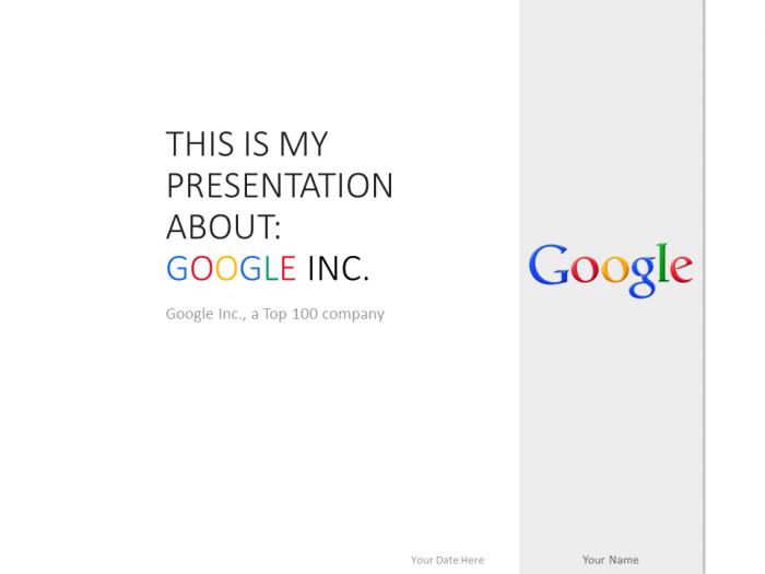 Google Inc PowerPoint Template White - PresentationGO.com | Top 100 ...