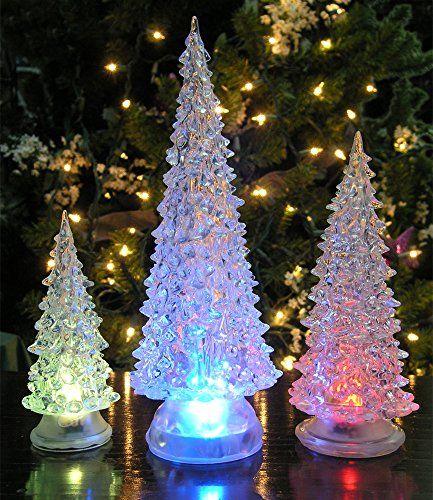 LED Lighted Acrylic Christmas Trees Holiday Decoration Set