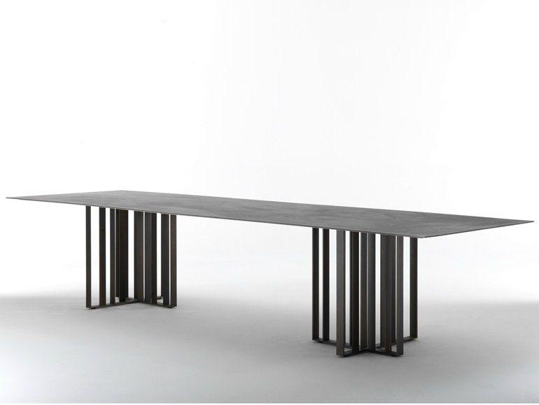 Tavolo da pranzo rettangolare in metallo SHADE by Lema | design Francesco Rota