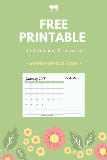 2018 Calendar  To Do List Free Printable Blog Pinterest