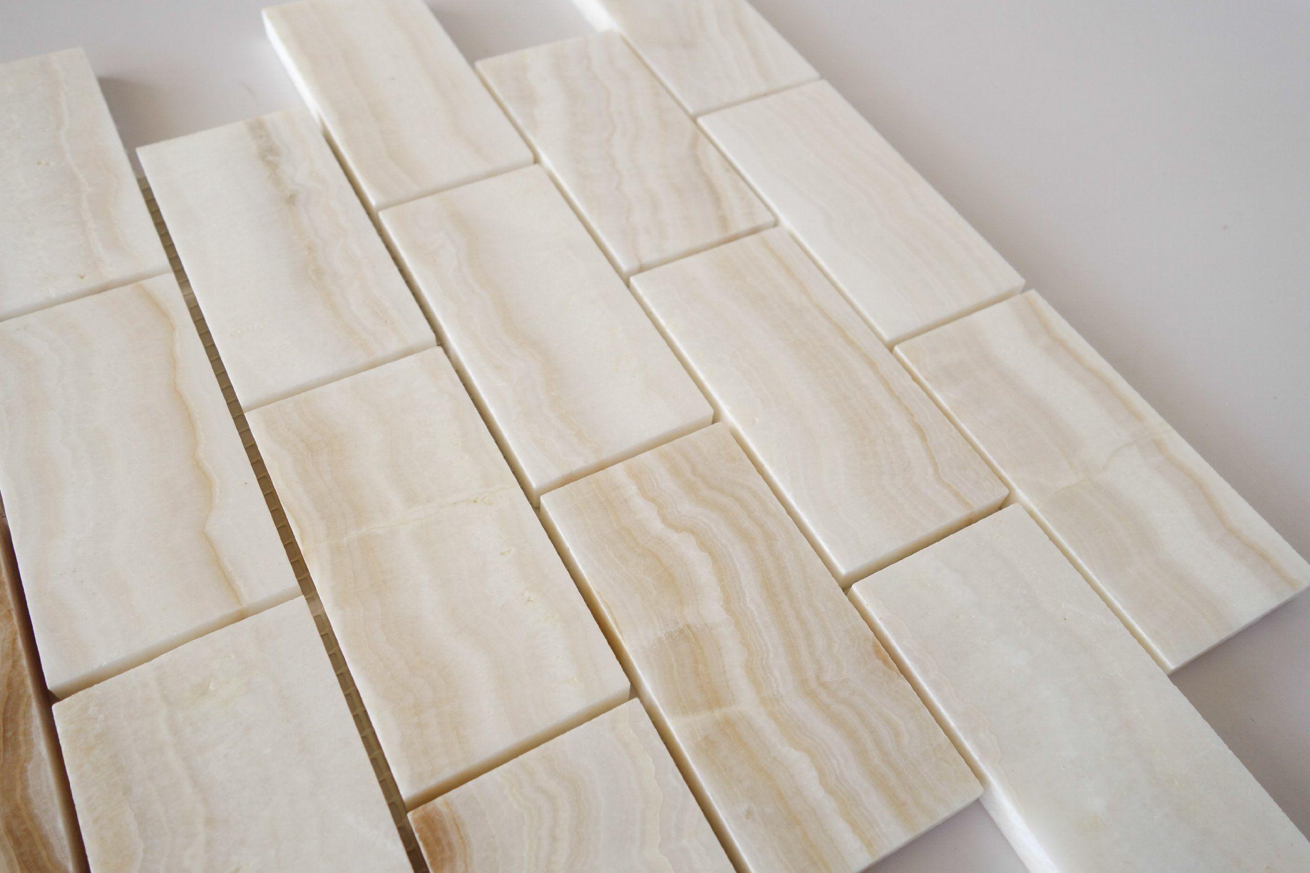 4x4 Sample Of 2x4 White Onyx Subway Polished Tiles On 12x12 Sheet
