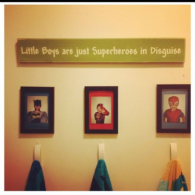 Boys Superhero Room Decor: Boys Bathroom-I Love This! May Have To Do This For My Boys