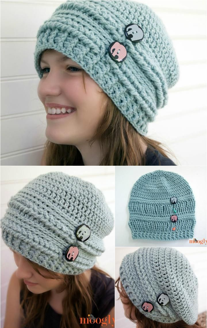 DIY Ups and Downs Crochet Slouchy Beanie - 10 Free Crochet Patterns for  Slouch Hat  8a4a2b7b9e7