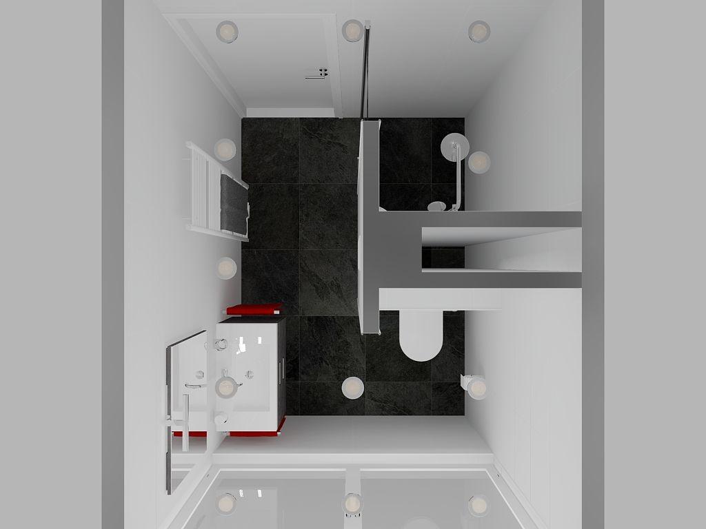 Badkamer (270x200) met douche, wastafelmeubel en \'verborgen ...