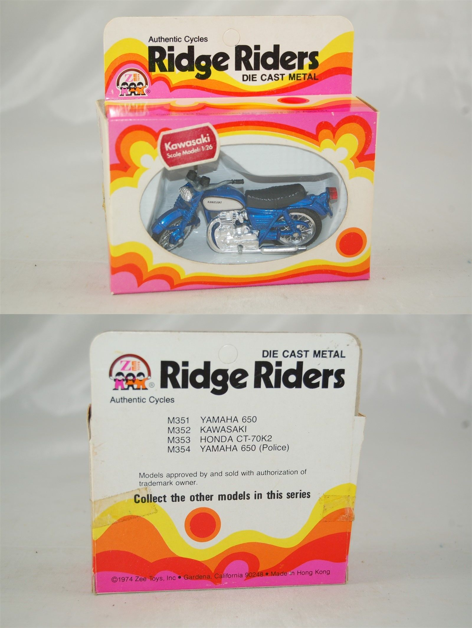 Honda car toys  Vintage Manufacture  Zee Toys  Ridge Riders Kawasaki Blue