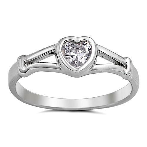 .925 Sterling Silver Ring size 1 Clear Baby Heart Toe Ring Kids New j08 #Unbranded #Band